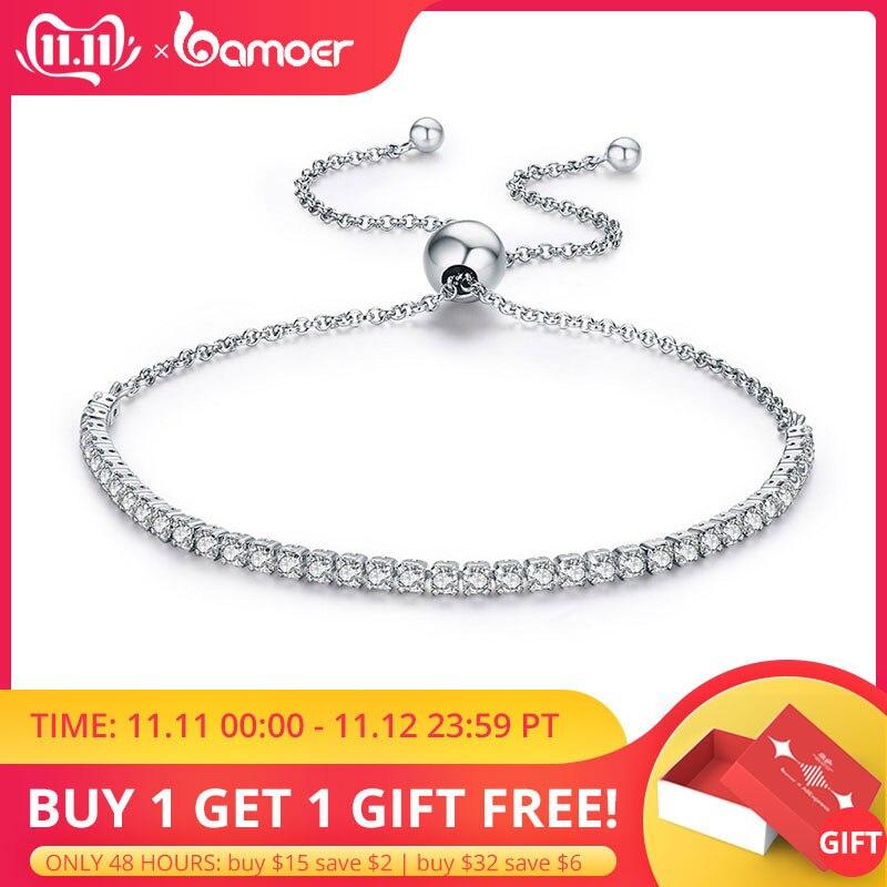 Bamoer destaque promoções da marca 925 prata esterlina cintilante strand pulseira feminino link tênis pulseira prata jóias scb029