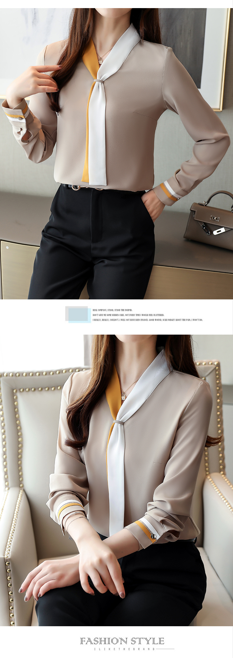 chiffon, moda de 2019, outono blusas,