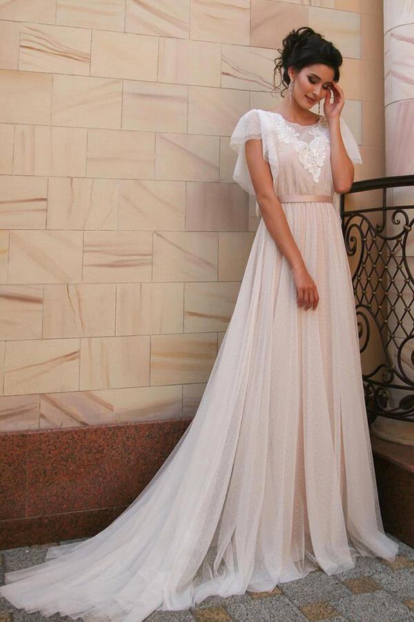 CPH0113 Short Sleeve Appliques Tulle A-line Wedding Dress 222