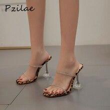 Pzilae модные туфли лодочки на высоком каблуке леопардовые туфли стразы из прозрачного ПВХ тапочки пикантная женская обувь с квадратным носком; вечерние туфли-лодочки