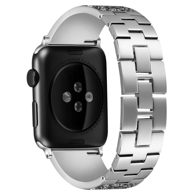 Diamond Stainless steel loop strap For apple watch band 38 42mm Metal Bracelet for apple watch 4 44 40mm bands for iwatch 3 2 1 in Watchbands from Watches
