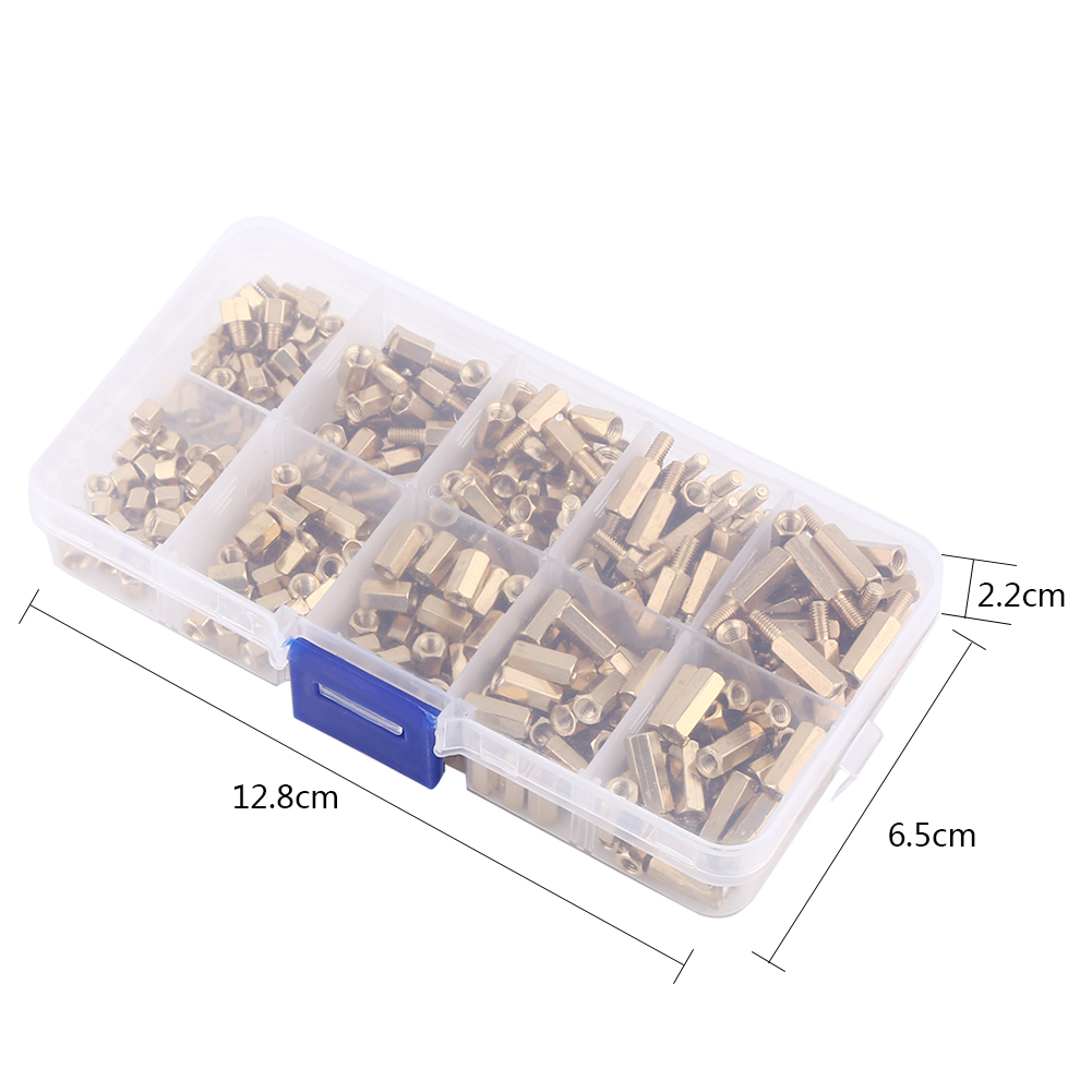 300PCS/Set M3 Male-Female Brass Hex Column Standoff Support Spacer Pillar For PCB Board 3mm Nuts Screw Pillars Set
