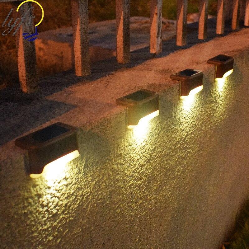 12pcs / lot solar light outdoor waterproof courtyard stair light garden fence solar lamp