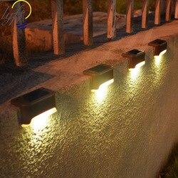 12 pçs/lote luz solar ao ar livre impermeável pátio luz da escada jardim cerca lâmpada solar