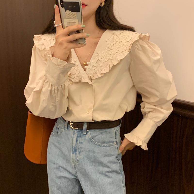 Alien Kitty 2020 New Fashion Women Blouse Shirt Lapel Tops Sweet Ruffles Korean Style Double-breasted Office Lady Elegant Shirts