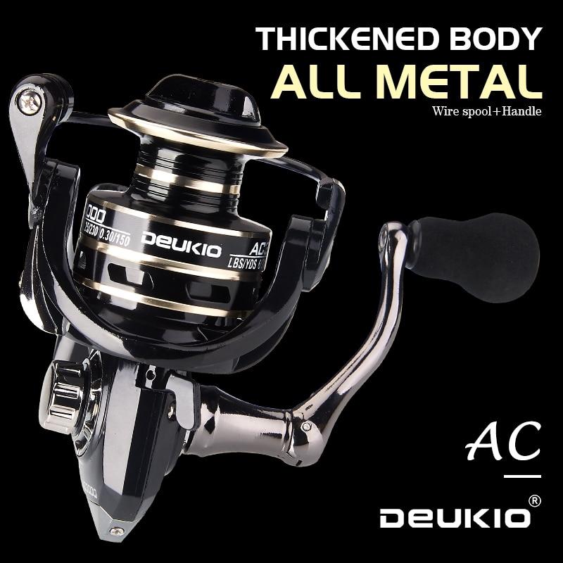 DEUKIO Fishing Reels Max Drag 8KG Spinning Reel for Fishing Metal Spool Surf Reel Fishing Coil Multipler Feeder Carrete De Pesca