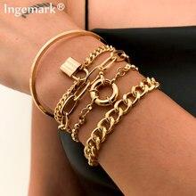 5 pièces/ensemble bohème Punk cubain chaîne Bracelets ensemble pour femmes serrure serpent lien Bracelets porte-bonheur Bracelets Couple mode poignet bijoux