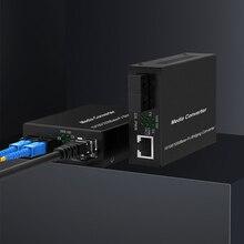 Convertidor de medios de fibra Ethernet Gigabit con un transceptor SC monomodo incorporado de 1Gb, 10/100/1000M RJ45 a 1000Base LX, hasta 20km