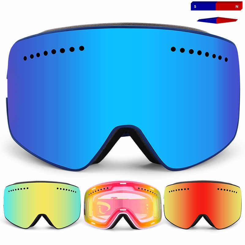 חדש מגנט סקי גוגל עם מקרה מותג מקצועי כפול אנטי ערפל גדול עדשת מגנט סקי משקפי מסכת סקי סנובורד משקפיים