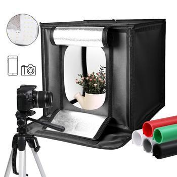 40cm * 40cm 15 5 cala LED składane Photo Studio Softbox podświetlana tablica lekki namiot biały zielony czarny tło zestaw akcesoriów światło tanie i dobre opinie YUXIA CN (pochodzenie) 40CM*40CM*40CM 3 04KG 120 Pieces 26100 Lumen 5500K 100V-250V photo box light box light photo lightbox soft box