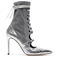 Bling Silver Lace up Women Ankle Boots Pointed Toe Snakeskin Patchwork Woman Fashion Shoes Luxury Cross tie Thin Heels Pumps