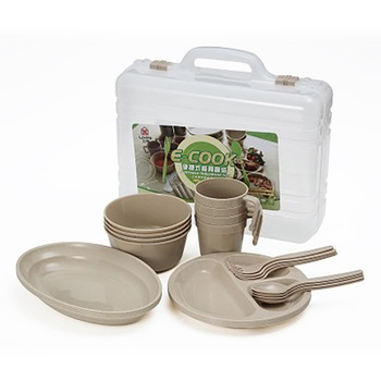 Outdoor Tableware Kit Lightweight Portable Reusable Food Grade Bowl Plate Cup Spoon Fork Set