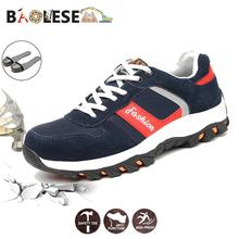 BAOLESEM Safety Shoes for Man Work Anti-smashing Steel Toe Breathable Sneakers wear-resistance Boots Fad