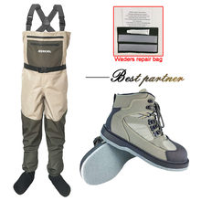 Fly Fishing Waders Waterproof Wading Pants and Boots Hunting and Fishing Clothes and Anti-skid Felt Sole Shoes Outdoor Overalls