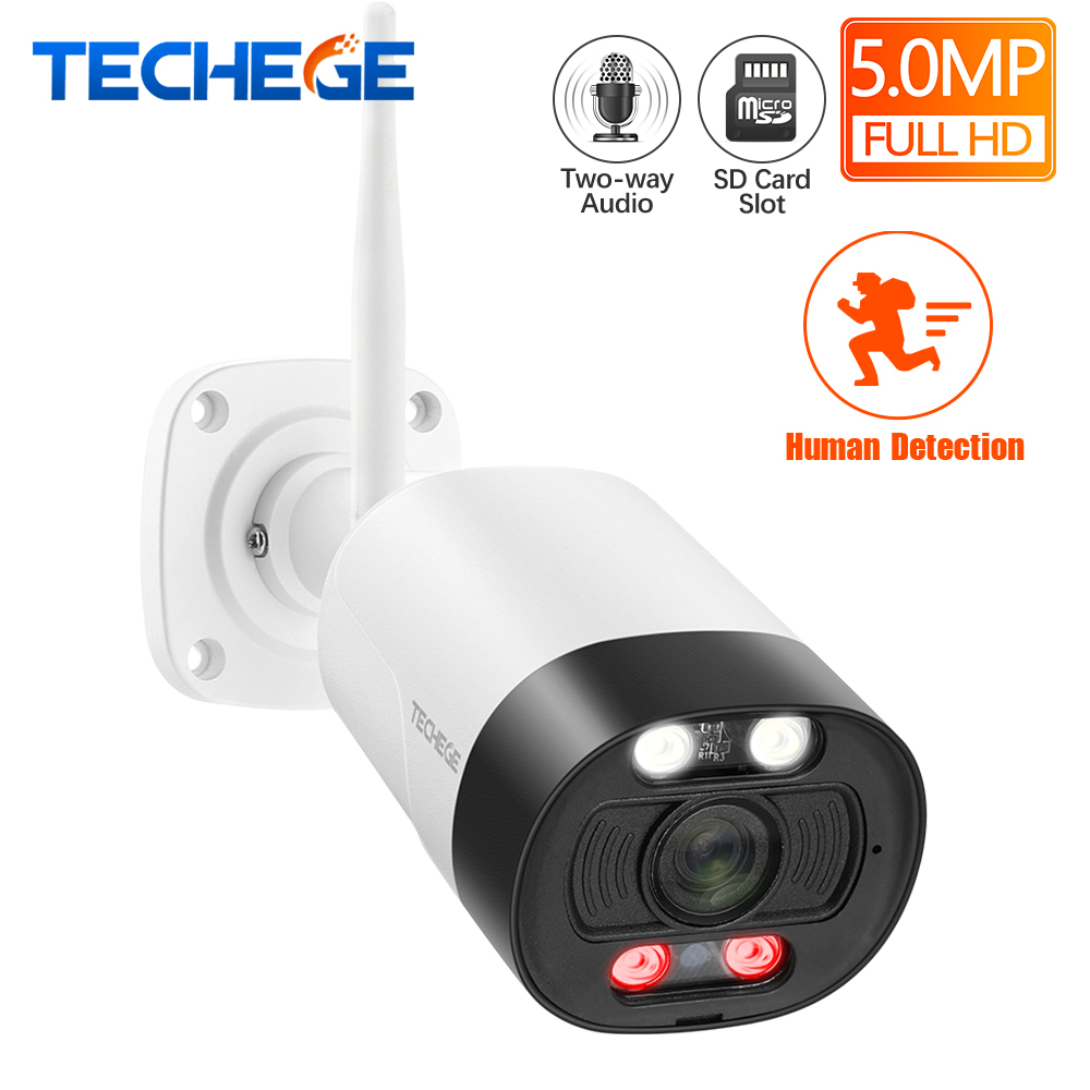 Techege Ai Smart 5MP Wireless IP Camera Outdoor Waterproof Onvif Security Camera Human Detection Two Way Audio TF Storage