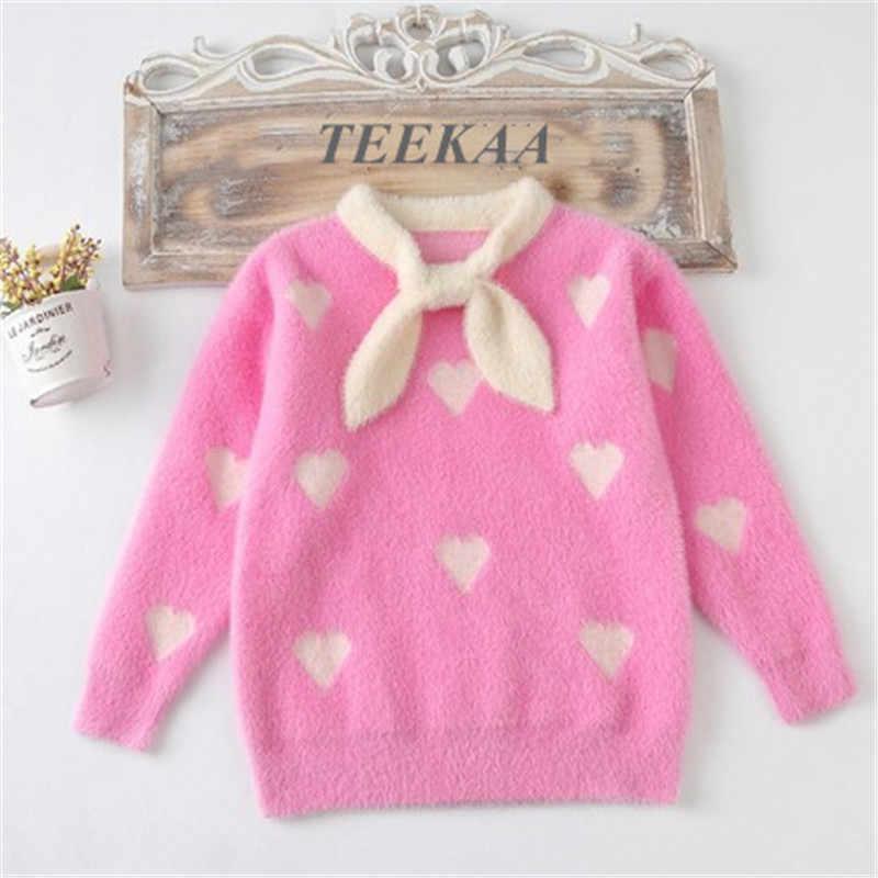 Мягкие свитера; костюм для девочек; Зимний вязаный пуловер с галстуком-бабочкой и принтом в виде сердечек; милый удобный облегающий свитер для девочек