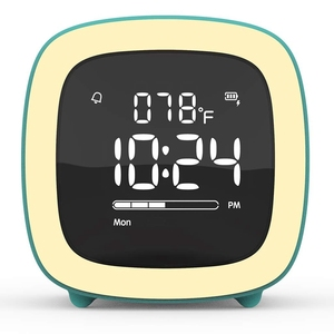 Kids Cute-TV Night Light Alarm Clock for Girls, Children, Bedroom, Rechargeable Battery Operated Alarm Clock with Sleep Timer, I