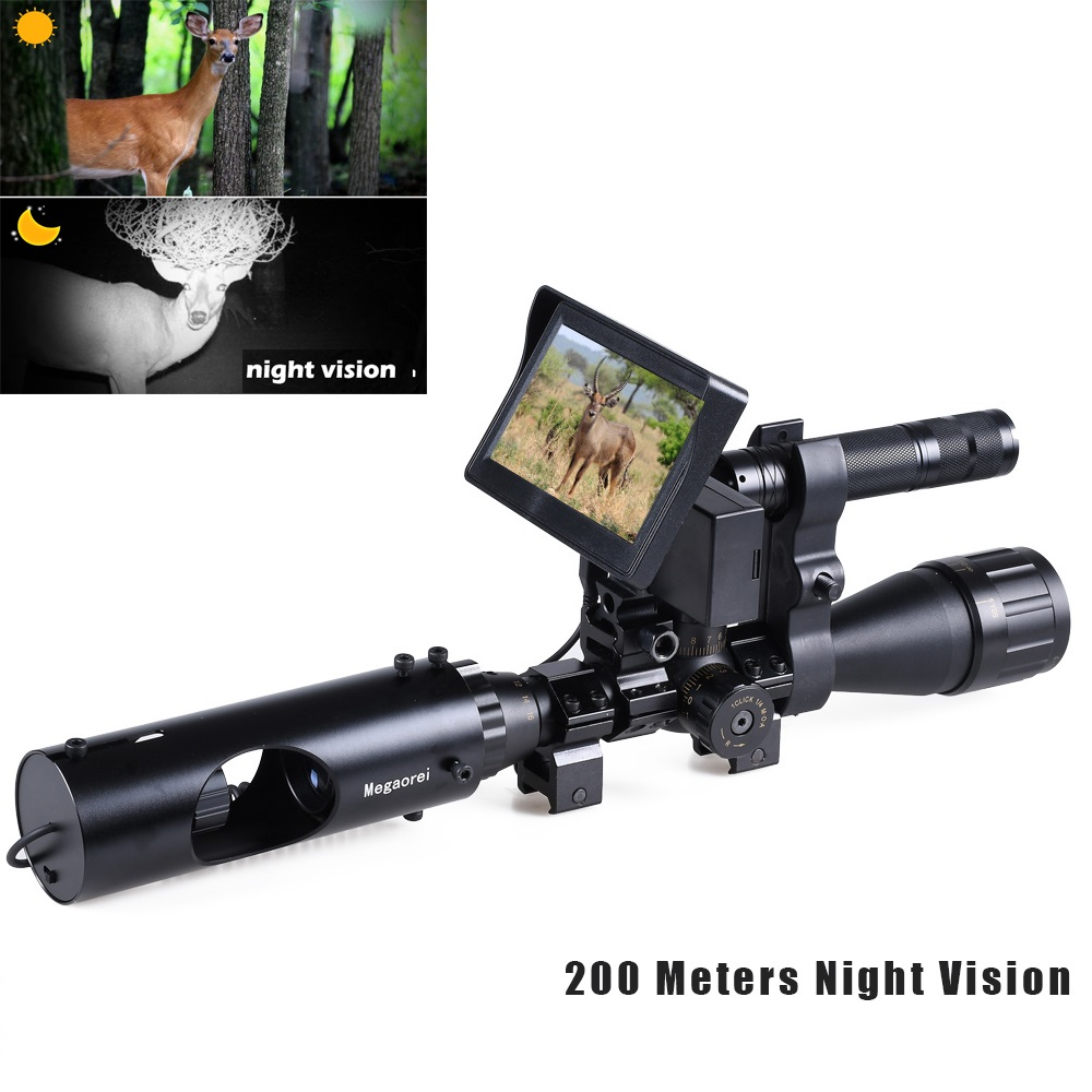 200M Night Vision Riflescope Hunting Scopes Sight 850nm Infrared LED Night Clear Vision Device Outdoor Hunting Riflescope Camera|Night Visions|   - AliExpress