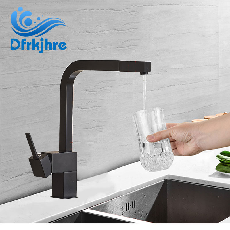 Kitchen Faucet Black Sink Faucet Square Brass Faucet Bathroom Kitchen Sink Hot And Cold Water Mixers Deck Mounted Tap