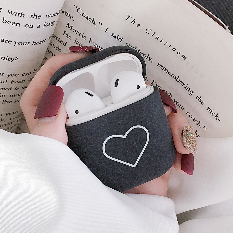 Heart-shape Pattern Matte Earphone Case For Airpods 1 2 Charging Box Cover Protective Cases For Apple Air Pods 2nd Coque