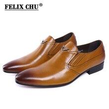 Mocasín para hombre de cuero genuino negro amarillo estilo italiano FELIX CHU, zapatos formales para boda, zapatos de vestir para hombre con punta estrecha
