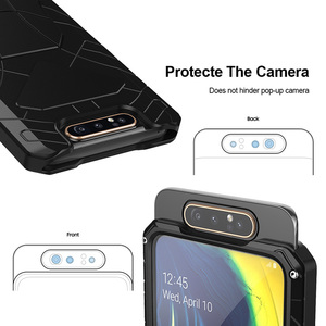 Image 5 - עבור סמסונג גלקסי A80 טלפון מקרה קשה אלומיניום מתכת מזג זכוכית מסך מתנת מגן כיסוי כבד החובה הגנת כיסוי