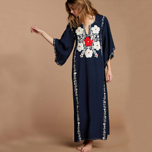 Boho Dark Blue Flower Embroidery Fringed Side Split Summer Long Dress Plus Size Women Clothing Vintage Maxi