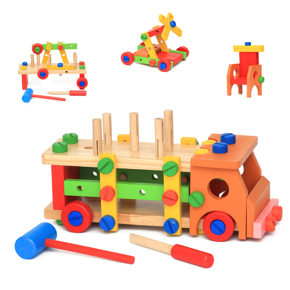 DIY Inserted Tree Wood 3D Building Blocks Puzzles Kid Assembly Creative Toys