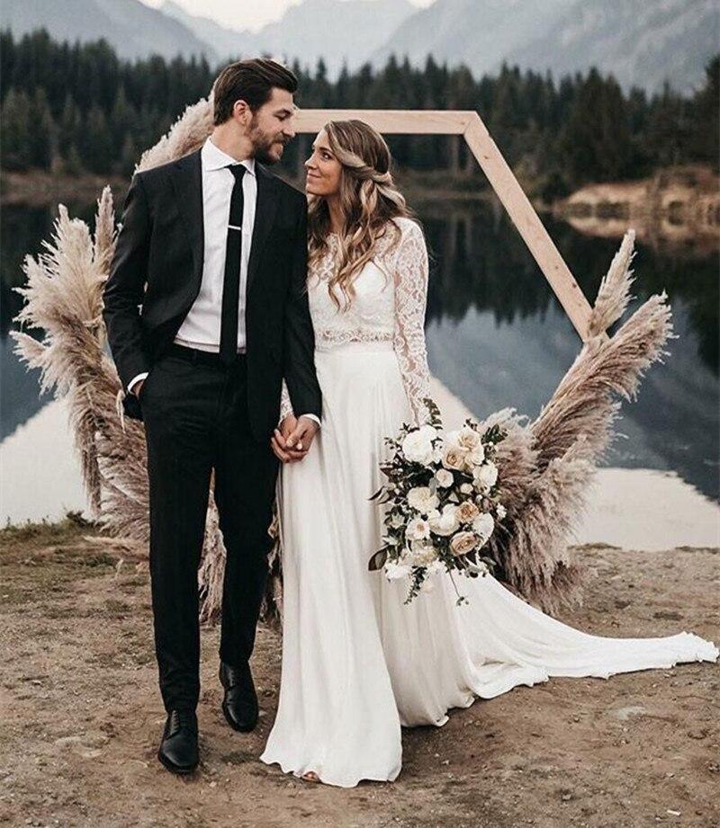 Robes De Mariée 2020 Boho Two Pieces Wedding Gown Long Sleeves A Line Wedding Dress White Ivory Chiffon Lace Beach Bride Dress