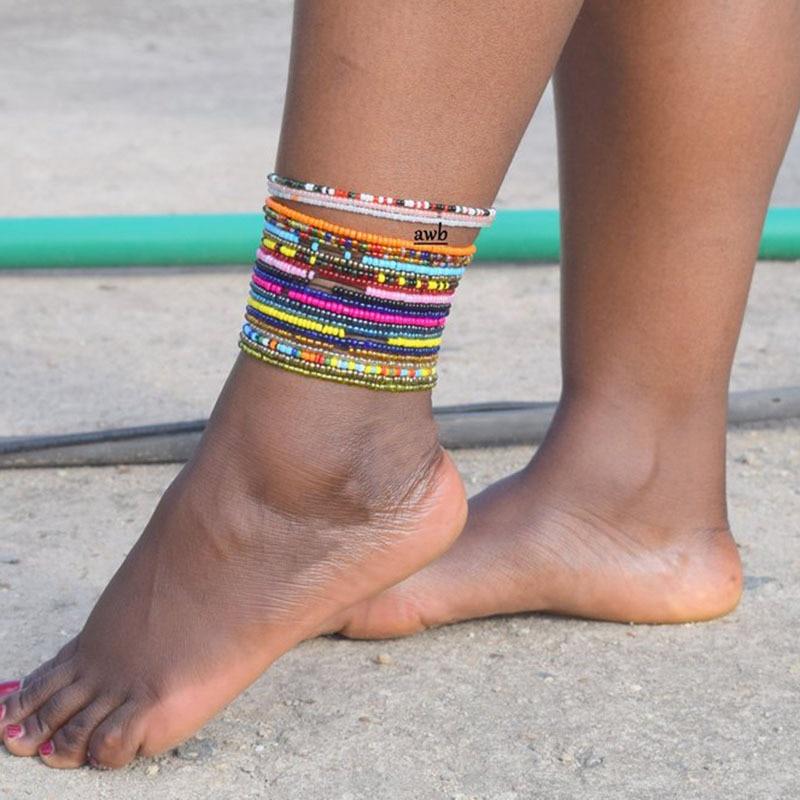 Bohemian Seed Bead Anklets for Women Colorful Bead Anklet on Leg Beach Anklet Summer Ocean Beach Ankle Bracelet Foot Leg