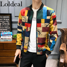 Loldeal Mens Jacket Long Sleeve Autumn Winter Printed Top Man Casual Coat Sporting