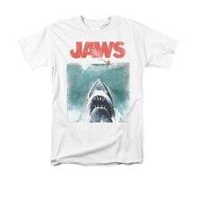 Camiseta con estampado de tiburones de manga corta para hombre, póster clásico de película, camiseta divertida con estampado de tiburones, camiseta masculina
