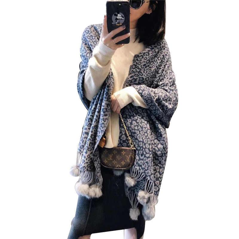 100% Reale Della Pelliccia Del Coniglio Pompon Sciarpe Delle Donne 2020 Del Leopardo di Modo Del Cachemire di Pashmina Dello Scialle Della Stola Lunga Nappa di Inverno Poncho Silenziatore