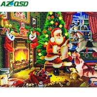 AZQSD Diamond Painting Santa Claus Framed 5D DIY LED Christmas Decor For Home 40x50cm Handmade
