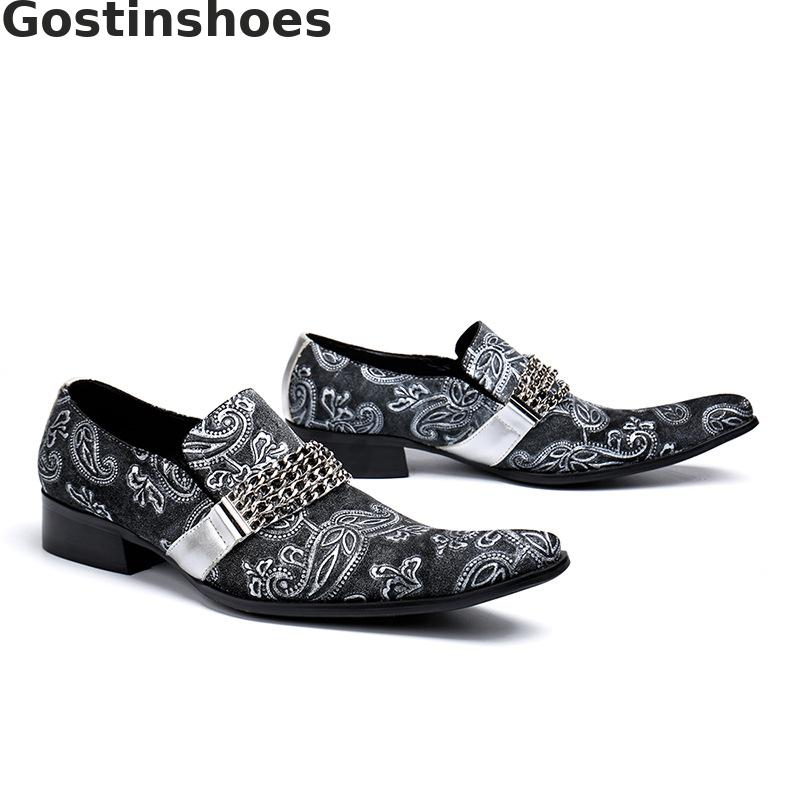 Fashion Men Shoes Cow Suede Flower Printed Men Casual Leather Shoes Pointed Toe Slip On Grey Men Leisure Shoes Chain Decoration in Oxfords from Shoes