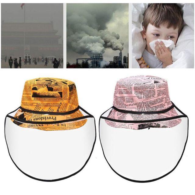 New Unisex Retro Newpaper Letters Bucket Hat Full Face Protection Shield Detachable Sun Protection Anti Saliva Fisherman Cap 5