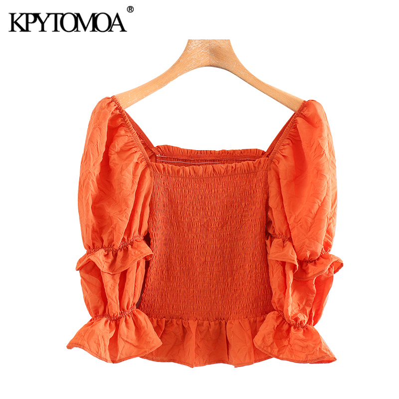 KPYTOMOA Women 2020 Sweet Fashion Stretch Slim Ruffled Cropped Blouses Vintage Square Collar Puff Sleeve Female Shirts Chic Tops