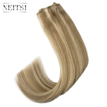 Neitsi Straight Double Drawn Remy Human Hair Weave Extensions 20 50cm 100g/pc Hair Weft Bundles Ombre Colored neitsi 20 50 100g remy 20 40pcs t8 60
