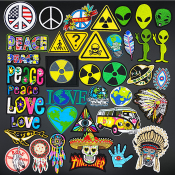 Alien earth warning PEACE & LOVE Patch Embroidery Iron On Patches For Clothing Jeans Jacket Cap Applique Badge DIY Accessories gordon stevens peace on earth