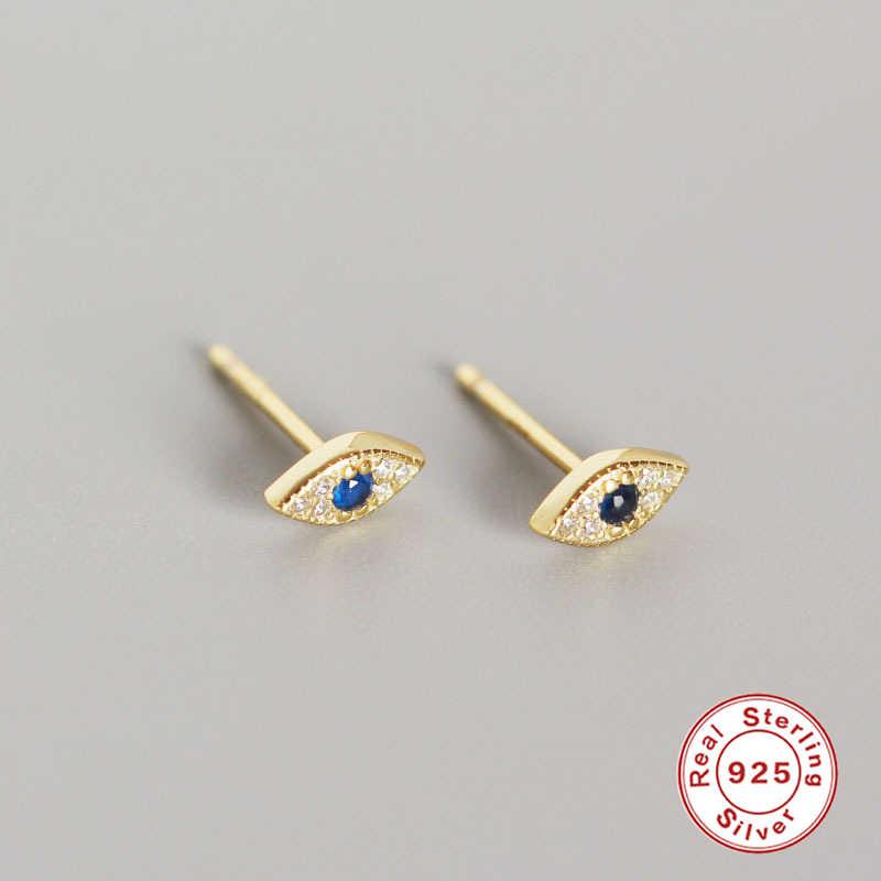 Pendientes 100% Plata de Ley 925 ROXI, pendientes minimalistas con diseño de ojo malvado de la suerte, tachuelas delicadas de circonia cúbica para mujer, joyería pequeña