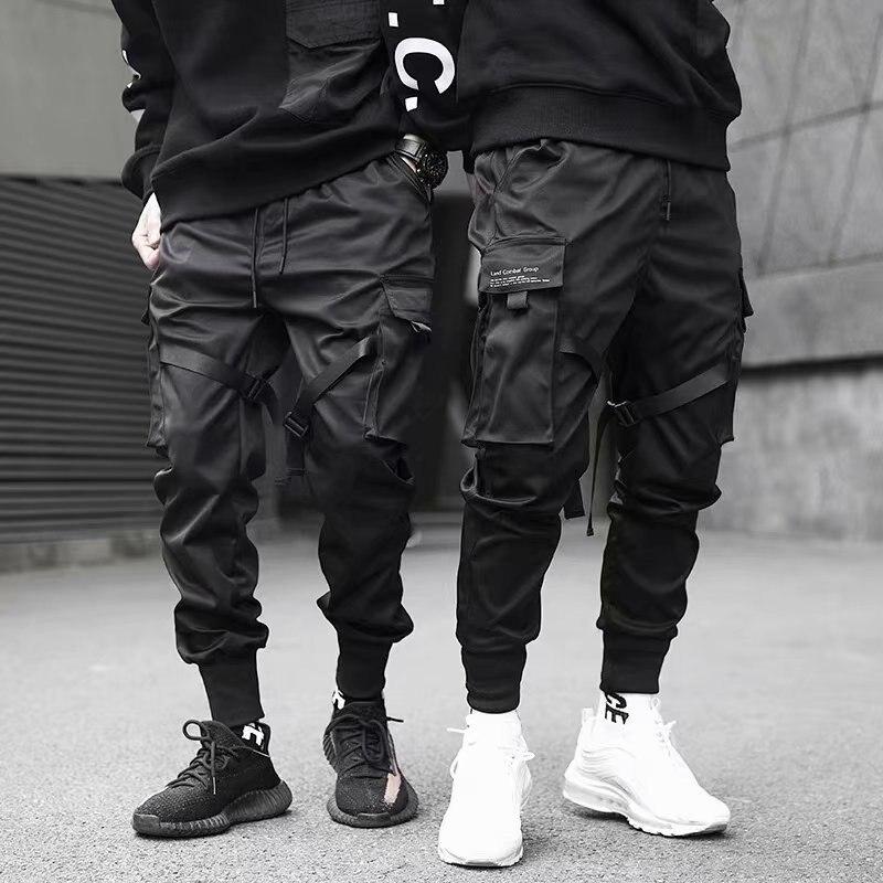 COLDKER  Color Black Cargo Pants Men Harem Pants Street Fashion Hip Hop Elastic Feet Joggers Harajuku Sweatpant Comfort Trousers