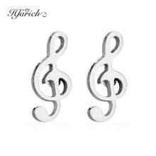 Hfarich Stainless Steel Individuality Musical Notes Earring Ear Studs Women Music Festival Earring for Ladies Girls Jewelry(China)