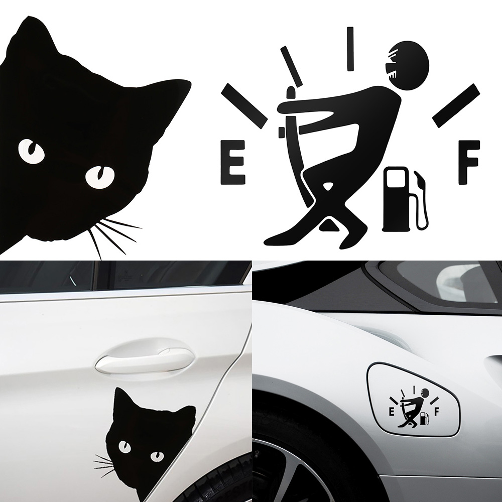 Car Sticker Cat Face Peering Decals Pet Cat Motorcycle Decorative Stickers Car Window Decals  12*15cm
