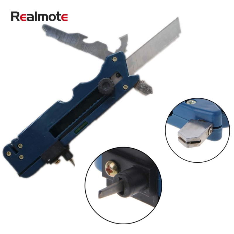 Realmote Professiona Tile Plastic Bottle  Glass Cutter Six Wheel Metal Cutting Kit Tool  Multifunction Cutter