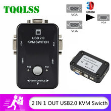 TQQLSS condivisione USB Switch KVM Switcher 2 porte VGA SVGA Switch Box USB 2.0 Mouse tastiera stampante Switch per 2 computer Share kvm