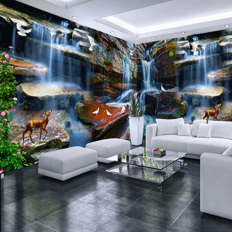 Custom 3D Photo Wallpaper Stone Waterfall Elk Pigeon Nature Landscape Art Mural Living Room Whole House Background Wall Painting