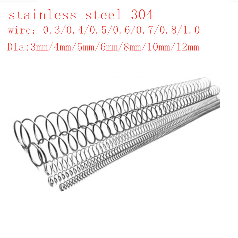 2-5 шт 0,3 мм 0,4 мм 0,5 мм 0,6 мм 0,8 мм 1,0 мм 304 нержавеющая сталь длинная пружина y-типа Пружина сжатия OD 3-12 мм длина 300 мм