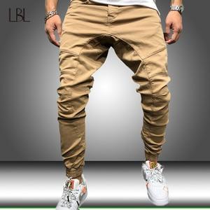 Slim Fitness Men Pants Hip Hop Harem Joggers Pants Mens Joggers Solid Multi-pocket Sweatpants Male Casual Cargo Bottom Trousers