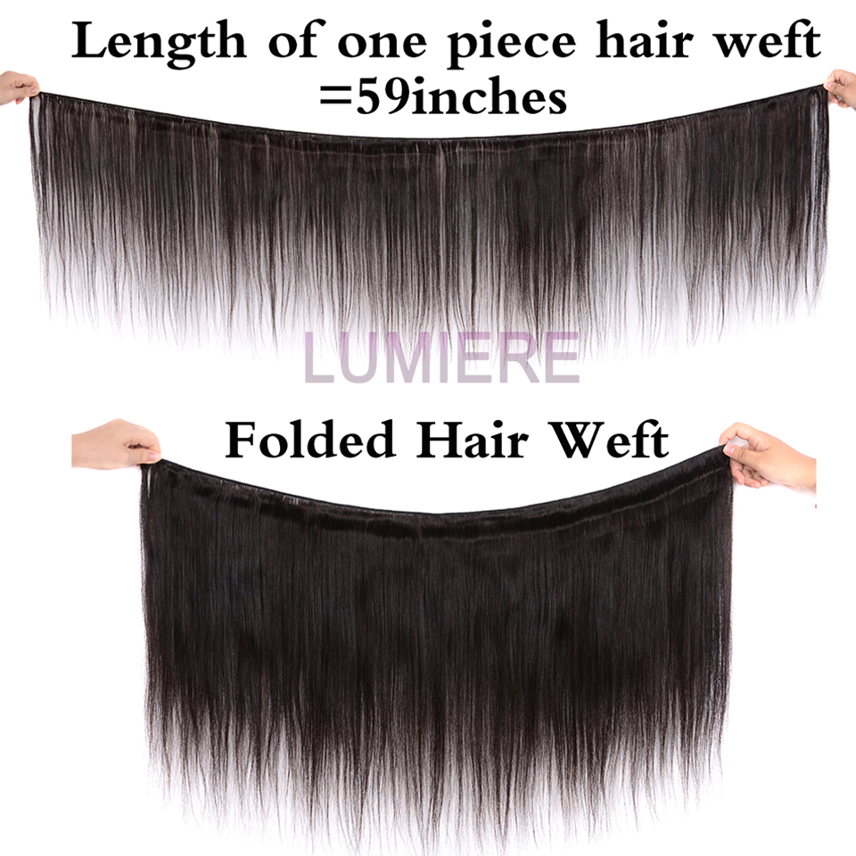 Lumiere Hair Brazilian Straight 3 Bundles With Frontal Human Hair Weave Bundle 13x4 Lace Frontal With Bundles Free Part Non Remy-in 3/4 Bundles with Closure from Hair Extensions & Wigs    2