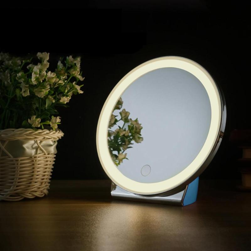 Round LED Vanity Mirror Lamp Rechargeable Dimmable Makeup Cosmetic Mirror Light 800mAh Lithium Battery Charging Handy